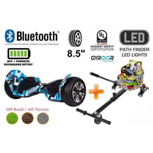 Crazy Blue G2 Pro Off Road Hoverboard Swegway Segway UL2272 Certified + HK4 Graffiti HoverKart