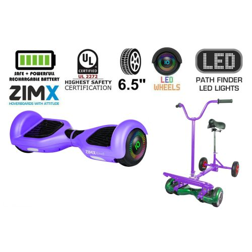 Purple Hoverboard Swegway Segway with LED Wheels UL2272 Certified + HoverBike Purple