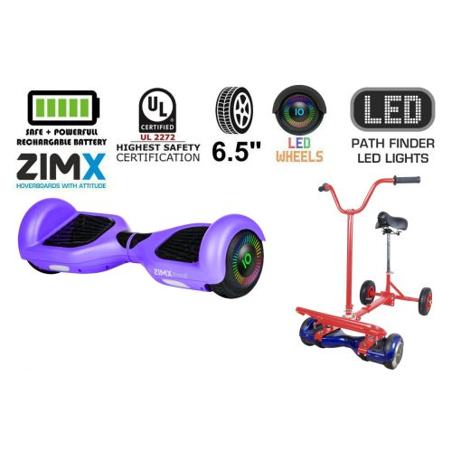 Purple Hoverboard Swegway Segway with LED Wheels UL2272 Certified + HoverBike Red