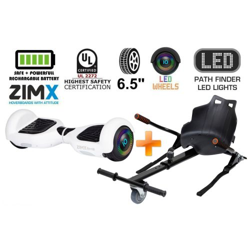 White Hoverboard Swegway Segway with LED Wheels UL2272 Certified + HK4 Black