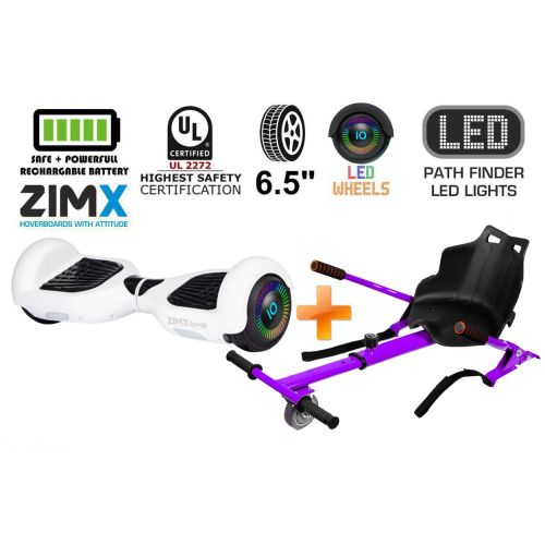 White Hoverboard Swegway Segway with LED Wheels UL2272 Certified + HK4 Purple