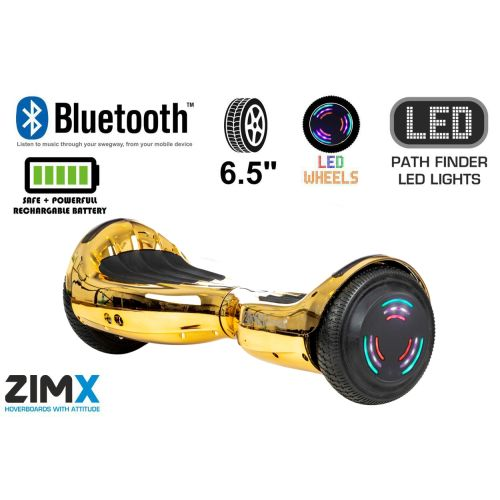 Gold Chrome Hoverboard Swegway Segway Bluetooth and LED Wheels UL2272 Certified