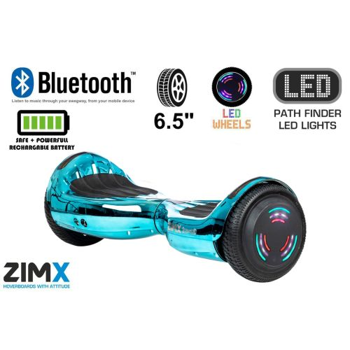Blue Chrome Hoverboard Swegway Segway Bluetooth and LED Wheels UL2272 Certified