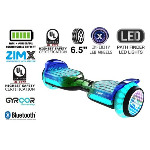 Green Blend Self Balancing Scooter Hoverboard Swegway with Bluetooth and INFINITY LED Tyres & Wheels + LED Foot Pads UL2272 Certified